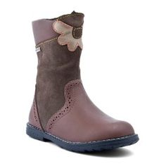 Aqua Flower, Brown Leather Girls Zip-up Boots Baby Shoes Girls Shoes, Baby Shoes, Leather Boots, Brown Leather, Warm Winter Boots, Brown Girl, Kids Boots, Childrens Shoes, Chelsea Boots