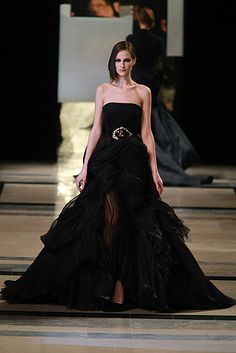 Devine Stephane Rolland couture dress with sheer front panel and full skirt