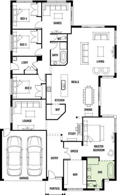 House Design: Dakar - Porter Davis Homes - would remove WIP so you can see kitchen on entry Bedroom House Plans, Dream House Plans, Small House Plans, House Floor Plans, Pool House Designs, New Home Designs, Home Design Floor Plans, Plan Design, European House Plans