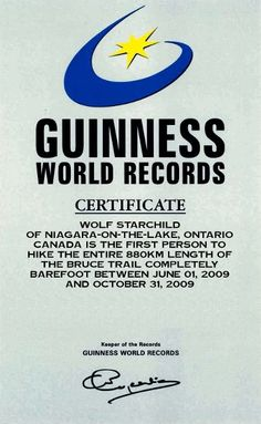 Guinness World Record Certificate for hiking the entire Bruce Trail barefoot in 2009