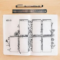 Bullet journal weekly layout, flower drawing, floral drawing, floral background. | @journautical