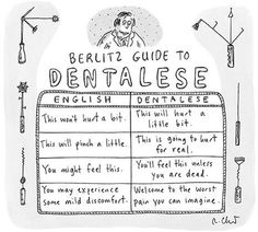 The Berlitz Guide to Dentalese.   This won't hurt a bit means this will hurt a little bit.  This will pinch a little means this is going to hurt for real.   You might feel this means you'll feel this unless you are dead.   You may experience some mild discomfort means welcome to the worst pain you can imagine.
