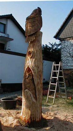 Eulenbaum Eulen im Baum Motorsäge Holger Bär Kettensäge Chainsaw Artist Carving BaerArt Skulpturen und Totems Art Kunst Sculptures Bildhauer Loghome