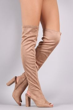 c6b1504d8a8 Qupid Stretchy Cutout Chunky Heeled Over-The-Knee Boots