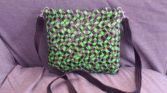 Τhe 3D messenger bag by myecobags on Etsy. A colorful messenger made with the candy wrapper technique. Ideal for carrying every woman's little everyday things or for a gift to a beloved person.