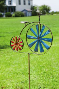 Vintage Tricycle Pinwheel Garden Stake (wheels move with the wind)