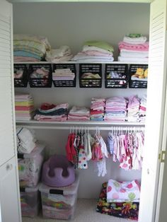 """Nifty use for those little crates you get at the dollar store!"" -- Ideas for Babies Room Closet"
