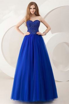 MZ0825 A Line Sweetheart Strapless Royal Blue Tulle Heavy Beaded Corset Top Prom Dresses Long 2014 Free Shipping $132.16