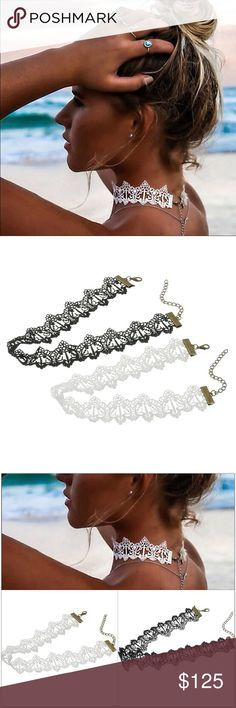 """•NOW AVAILABLE•  Black or White Lace Tattoo Choker Beautiful Lace Choker  🌟Available in both black and white. ** 🌟12"""" long with 2.5"""" extender.  🌟1.25"""" wide.   ❗️Price is firm unless bundled❗️  **If you would like one of each color (or more than one), please message me and I will make you a listing. Jewelry Necklaces"""