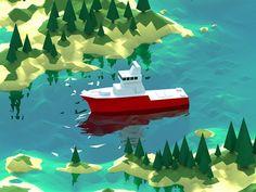low poly ship scene: