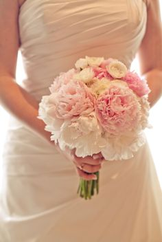 Peonies and ranuculus, in corals, pinks and white with greenery  #dawnsinvitecontest