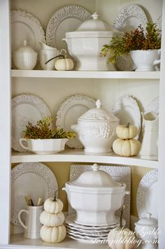 soup tureens, white dishes and white pumpkins. Thanksgiving Decorations, Holiday Decor, Thanksgiving Games, Seasonal Decor, Holiday Ideas, Autumn Decorating, Hutch Decorating, Decorating Tips, White Dishes