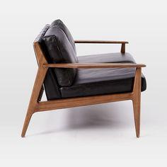 Mathias Mid-Century Wood Frame Leather Sofa #westelm