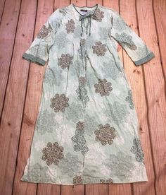 Stan Herman Green Floral Nightgown House Lounge Dress Cotton Size L #StanHerman #Gowns