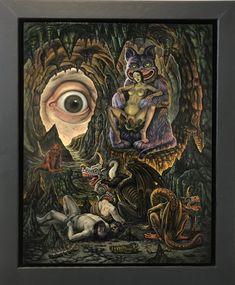 CHRISTOPHER ULRICH- THE BIRTH OF THE DRAGON, 2018  Oil on panel  21.5 x 17.5 in (54.6 x 44.4 cm) #laluzdejesusgallery #darkart #surrealism #christopherulrich #satan #jesus #oilpainting