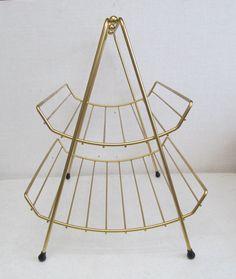 Vintage Mid Century Modern Pagoda Magazine Rack