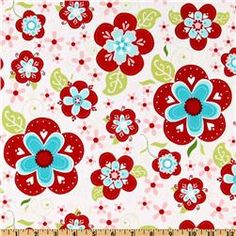 quilted fish for riley blake, sugar & spice, large flower white