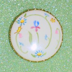 Vintage Floral Design Painted Porcelain Brooch by BorrowedTimes