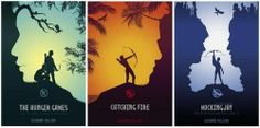 Really neat fan-made posters. Notice the profiles in each? It looks like Gale in the Catching Fire one.
