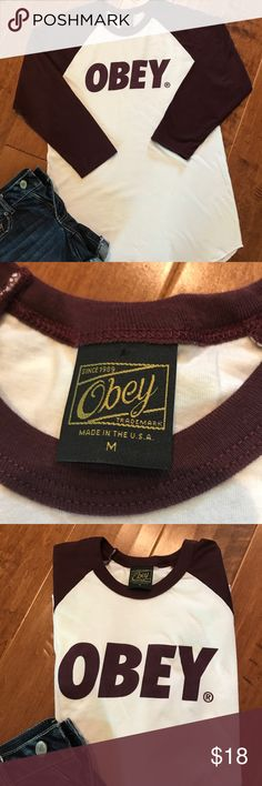 Obey Baseball Tee NWOT size M.  White with deep maroon 3/4 length sleeves. Very soft and comfy:) Obey Tops Tees - Long Sleeve