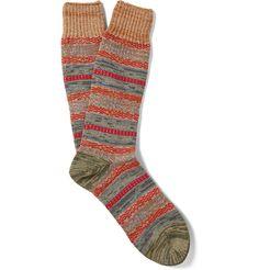 Mr. Gray - Striped Mélange Knitted Socks | MR PORTER