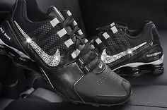New Nike Shox Avenue Black Silver Swarovski Crystal Bling Accent Women a313c9204a