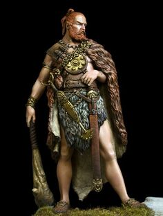 Germanic Clubman (Slaganz). Cardiophylax and club look dodgy. Surely if he can afford a sword he'd rather spend his wealth on a shield and warmer clothing/armour instead of a small bronze disc and an unnecessary club? Only levies would've used clubs, which wouldn't have been as large.