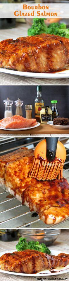 Bourbon Glazed Salmon - Yummy Addiction - Atıştırmalıklar - Las recetas más prácticas y fáciles Salmon Dishes, Seafood Dishes, Fish And Seafood, Salmon Food, Fish Recipes, Seafood Recipes, Cooking Recipes, Healthy Recipes, Quick Recipes
