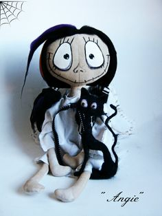 'Angelina' gothic textile doll and 'Bat' the black felted cat