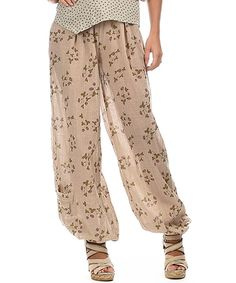 Another great find on #zulily! Beige Floral Harem Pants by Ian Mosh #zulilyfinds