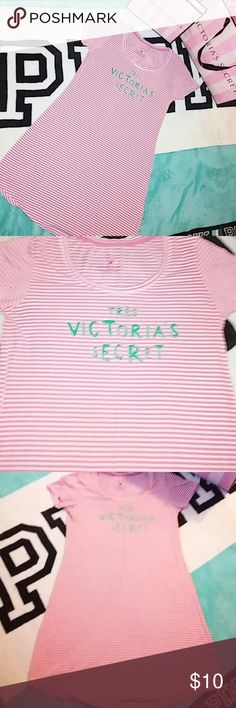 """Victoria's Secret nightgown VS pink and white striped knee length night shirt with """"Tres Victoria's Secret """" in green. Perfect condition. Victoria's Secret Intimates & Sleepwear Pajamas"""