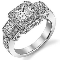 Carats Princess Cut Diamond Three Stone Engagement Ring on Solid White Gold Three Stone Diamond Ring, Three Stone Engagement Rings, Three Stone Rings, Halo Diamond, Diamond Rings, Gia Certified Diamonds, Princess Cut Diamonds, Diamond Are A Girls Best Friend, Unique Jewelry