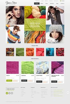 A yarn store! - Amazing responsive template for WordPress 3.8.x with JigoShop 1.8, Item: 48266, $115 = http://templates-n-more.com