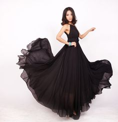 Black Long chiffon wedding dress sundress Chiffon by swanstore