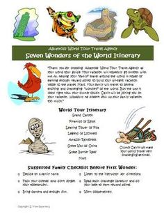 Seven Wonders Math Vacation Activity! Your students will love this! $