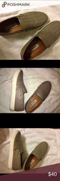 Steve Madden slip on sneakers Taupe slip on sneaker, Textured/perforated leather - perfect elevated athleisure look.  EUC worn a few times but too big on me :( Steve Madden Shoes Sneakers