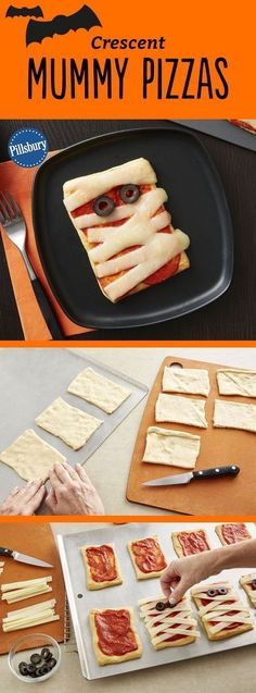 Kids will go crazy for these adorable mummy pizzas! Made easy with crescent dough, kids will love to help assemble them for dinner or serve them at your next Halloween party. Want extra flavor? Add chopped Canadian bacon or pepperoni before adding the cheese.