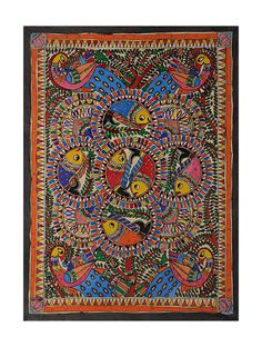 Buy Multicolor Fish Madhubani Painting (20.6in x 29in) Handmade Paper Paint Art Tribal and Folk Online at Jaypore.com