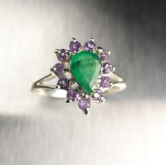 0.55cts Natural green emeralds pear shape & purple by EVGAD