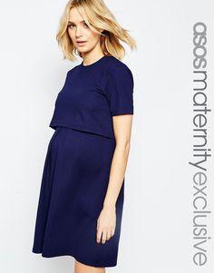 a0555ec8fec909 ASOS Maternity NURSING Textured Skater Dress With Double Layer at asos.com
