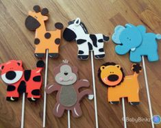 Jungle Animal Shapes - Cake Toppers or Party Decorations monkey giraffe lion elephant tiger zebra baby. Jungle Animal Shapes - Cake Toppers or Party