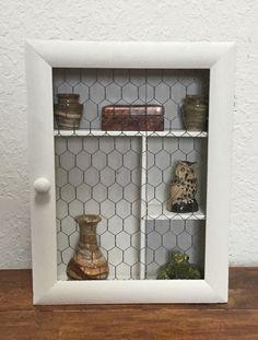Repurposed White Curio Cabinet with Chicken Wire