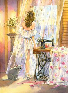 Illustration Sketches, Illustrations, Mandala Art Lesson, Historical Art, Sewing Art, Anime Art Girl, Cartoon Art, Cute Drawings, Art Pictures