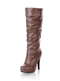 Fashion Patent Leather High Tube Platform Winter Boots