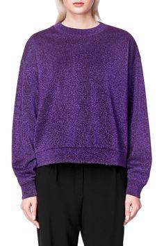 Weekday Glim Sweatshirt in Purple Dark