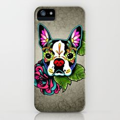 Day of the Dead Boston Terrier Sugar Skull Dog iPhone & iPod Case