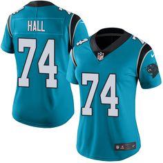 Women's Nike Carolina Panthers #74 Daeshon Hall Limited Blue Rush NFL Jersey