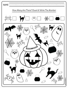 Halloween math activities kindergarten students and teachers need! I am glad I don't need to look for kindergarten math printables any longer. Use these free printables for extra homework or kindergarten math centers. Halloween Math Worksheets, Halloween Activities For Kids, Fun Worksheets, Kindergarten Morning Work, Kindergarten Math Activities, Free Activities, Theme Halloween, Math Centers, Learning Centers