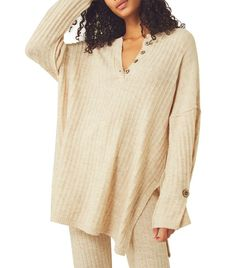 Free People Around The Clock Ribbed-Knit Sweater