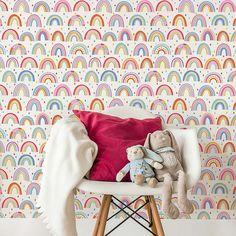 Over The Rainbow Wallpaper In 2019 Wallpaper Kids Bedroom Girls Bedroom Wallpaper, Bedroom Images, Kids Wallpaper, Wallpaper Childrens Room, Little Girl Wallpaper, Playroom Wallpaper, Big Girl Bedrooms, Little Girl Rooms, Bedroom Decor